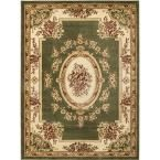 Timeless Le Petit Palais Green 6 ft. 7 in. x 9 ft. 3 in. Traditional Classical Area Rug