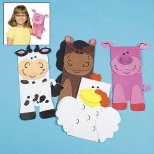 Farm Animal Puppet Paper Bag Craft Kits (1 dz)