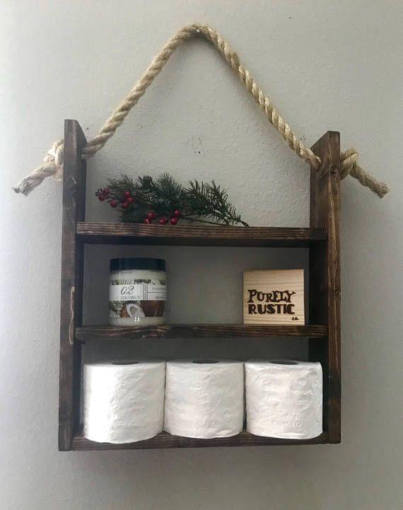 Rustic bathroom decor, bathroom wall decor, nautical decor, wall storage, bathroom shelf, bathroom storage, housewarming gift, ladder shelf