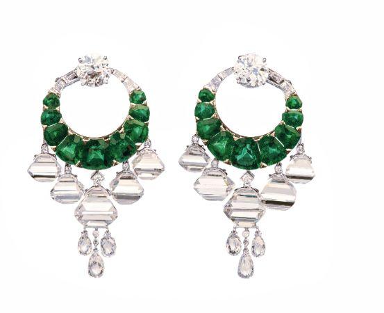 Viren Bhagat. Emerald & diamond earrings...♡