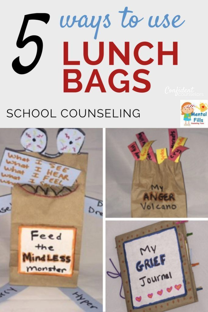 5 ways to use lunch bags in school counseling to address divorce, anger management, mindfulness, character education, and grief from Mental Fills. http://confidentcounselors.com/2017/08/16/school-counseling-crafts-lunch-bags/