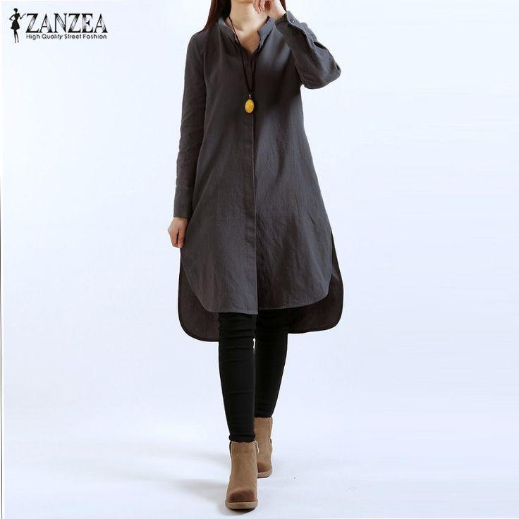ZANZEA Women 2017 VIintage Casual Loose Dress Ladies Long Sleeve Split Asymmetrical Hem Cotton Solid Dresses Plus Size Vestidos-in Dresses from Women's Clothing & Accessories on Aliexpress.com | Alibaba Group