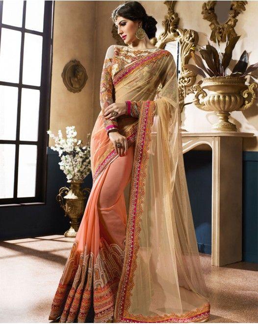 Cream And Orange Net Georgette Designer Saree  #designersareeswedding #latestdesignersarees #indiandesignersarees #designersareescouture #designersareesforgirls #designersarees2017 #floraldesignersarees #plaindesignersarees #whitedesignersarees #designersareespartywear #bollywooddesignersarees #simpledesignersarees #vogueindia #lakmefashionweek #bollywood #fashion #shopping #usa #india #indianwear