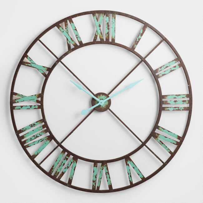 A Bold Statement Piece For The Kitchen Or Living Room Our Oversized Iron Clock Is Finished In Black With Vintage Brown Clock Farmhouse Wall Clocks Wall Clock