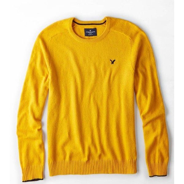 American Eagle Crew Sweater ($37) ❤ liked on Polyvore featuring tops, sweaters, crewneck sweater, embroidered top, american eagle outfitters top, american eagle outfitters sweaters and yellow sweater