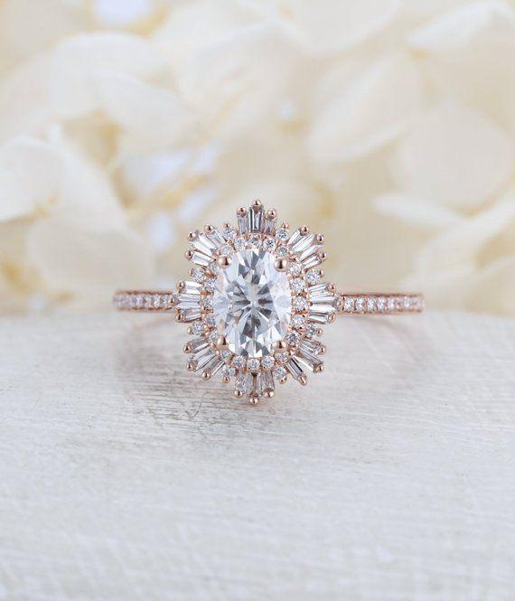 Anillo de Compromiso Vintage Mujer Oro Rosa Halo Diamante Moissanite Corte Oval ….   – Amazing DIY Jewelry