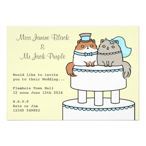 Kitty Cat Wedding Cake Couple Personalized Announcements