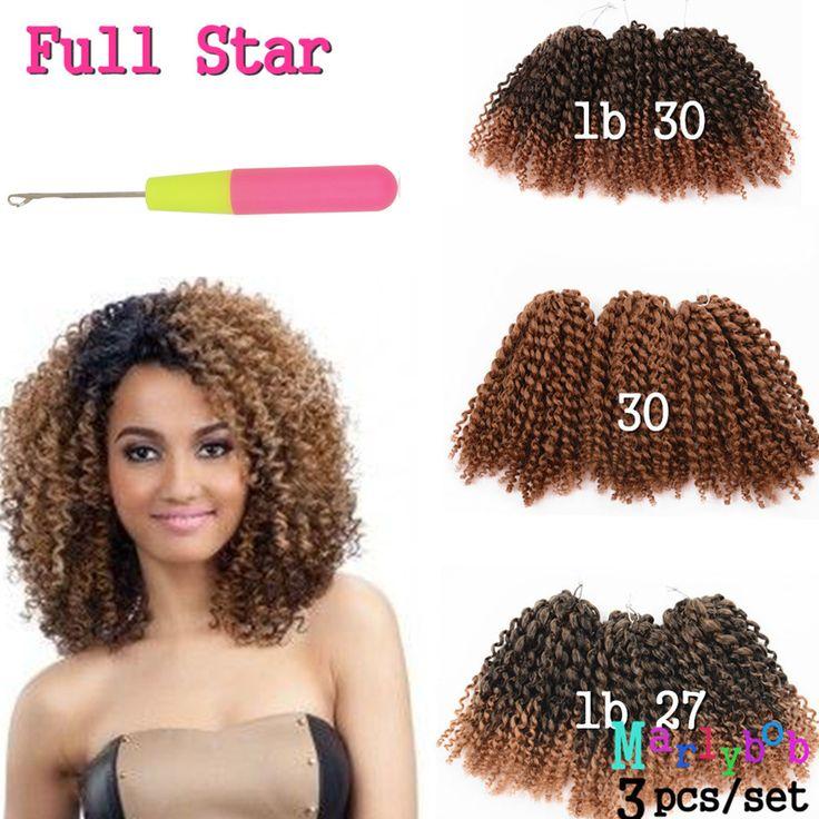 "Hair Extension 8"" 3Pcs/set Crochet Braids hair Ombre braiding hair synthetic Kinky Twist Wavy curly Faux Locs Crochet Hair Extension Malibob  ** Clique no botão VISITAR para descobrir mais deste lindo produto."