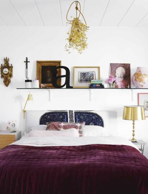 home of decorator Mia Lundström: love the velvet purple cover - makes the room so elegant and royal
