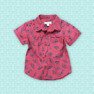 Pumpkin Patch Printed Short Sleeve Roll Up Shirt - 100% cotton and available in sizes 12-18m to 6 years http://www.pumpkinpatchkids.com/