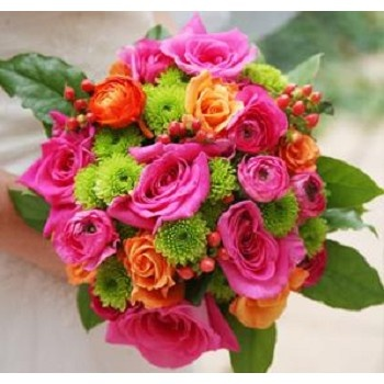 Wedding bouquet- bright pink roses, orange roses, and green chrysanthemum floral mix- - Bridal Bouquet - pageant bouquet style
