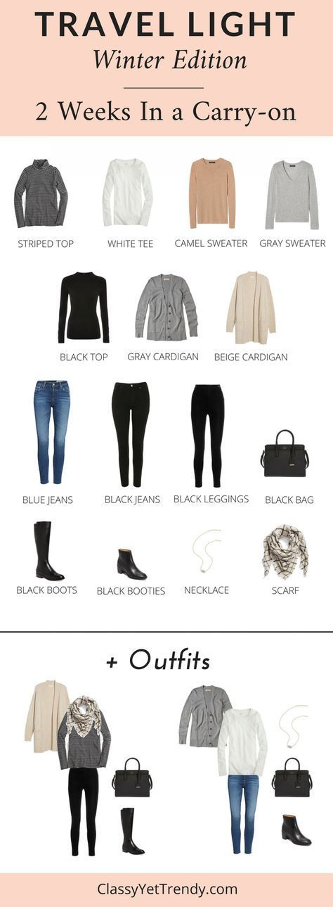 Travel Light: 2 Weeks In a Carry-on (Winter) - Pack just a few items only in a carry-on and have 2 weeks of outfits! When you go on a vacation, does it seem like you overpack? Or, do you have to carry two big suitcases to hold everything? See what clothes and shoes to pack in your suitcase to get the most outfits. Includes 3 outfit ideas.