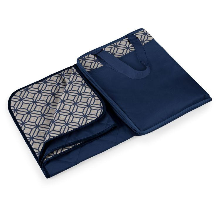 Picnic Time Vista Blanket - Navy (Blue) with Moroccan Print (Extra Large)