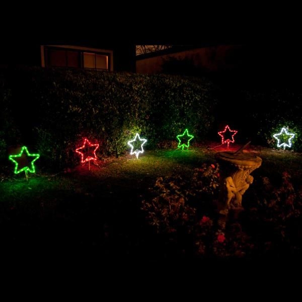 Christmas Set of 6 Solar LED Stars Light -Red/Green/White | Christmas Solar Lights | Great Gifts at Deals Direct
