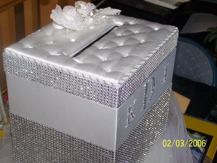 Satin Bling Wedding card holder box as seen by BLINGYWEDDINGSTUFF, $49.99