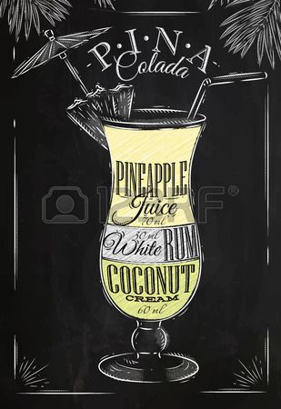 Pina Colada cocktail in vintage style stylized drawing with chalk on blackboard Stock Vector