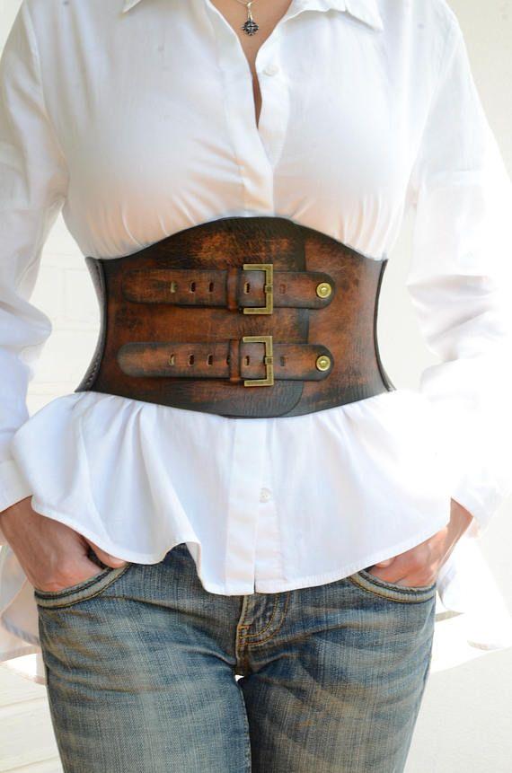Brown Leather Corset Belt Boho Belt Wide Waist Belt Womens