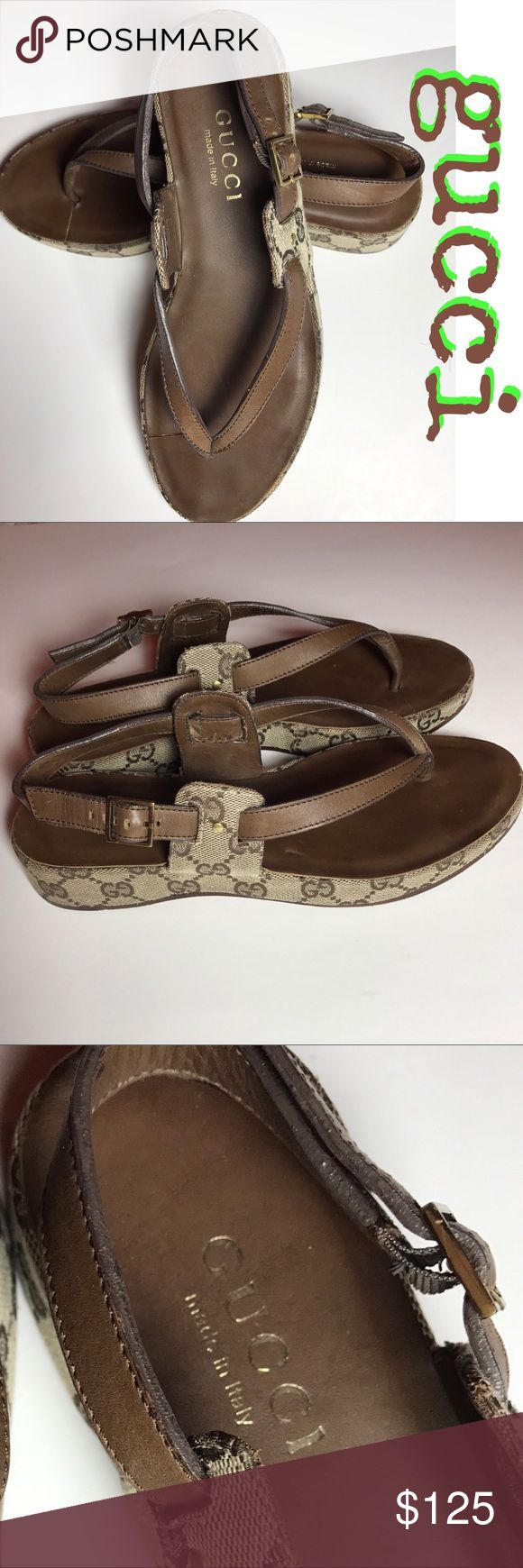 """Gucci Monogram Sandals Beautiful leather and canvas classic Gucci monogramed casual sandals.  Worn only a handful of times. Wear only shows on the soles. 1"""" platform in back tapering to .5"""" platform on from. 100% authentic PRICE FIRM Gucci Shoes Sandals"""