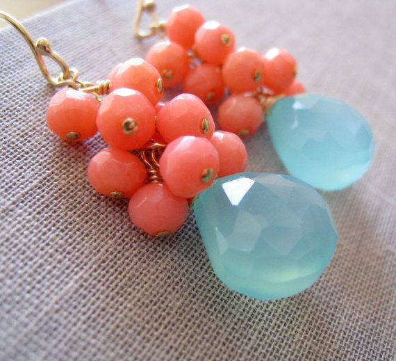 Aqua and coral earrings, bridesmaid coral earrings, something blue bridal party jewelry, pink corals