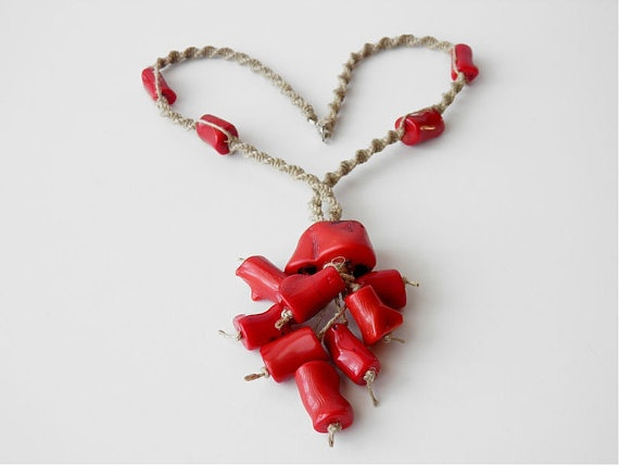 Linen Coral Folk Charm by KultomaniA on Etsy, $45.00