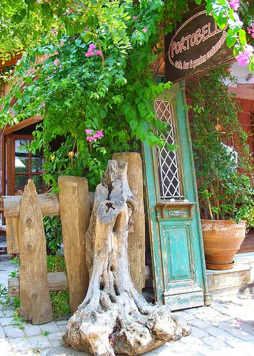 Greece: Skiathos Island -- Artististic rustic display at shop front