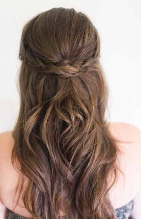 Bridesmaid Hair (but with more curls) -- I like the two braids bringing back together