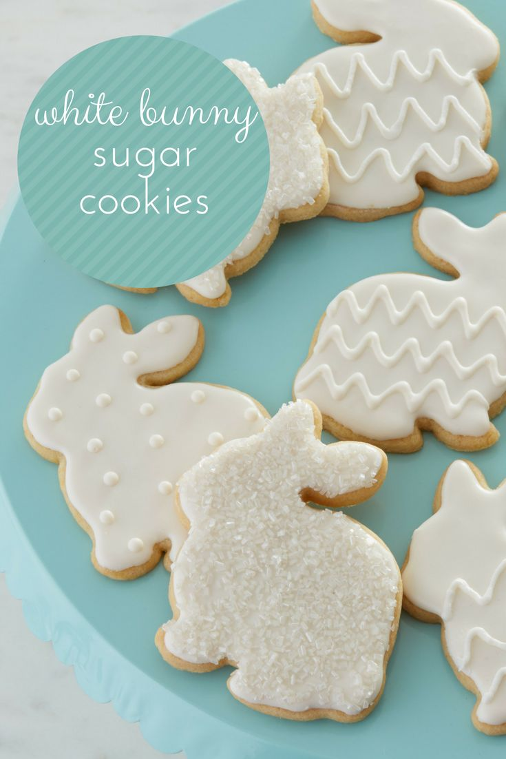 Celebrate the Easter holiday this year with these elegant White Bunny Sugar Cookies   These sugar cookies are decorated with pure white icing and decorating sugars for a simply beautiful Spring dessert. Or, serve these sugar cookies as a baby shower dessert.