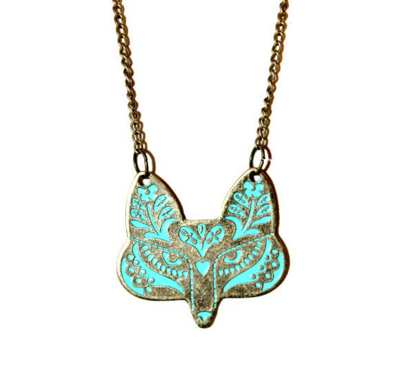Fox Statement Necklace in Bronze with Turquoise by KaymaBoutique, $19.99