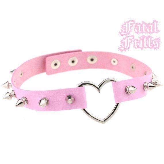 200def950f814 Spiked Pink Leather Heart Choker Collar Punk Pastel Goth Kawaii 90s ...