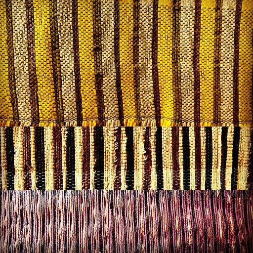 Raffia cushions with striped design