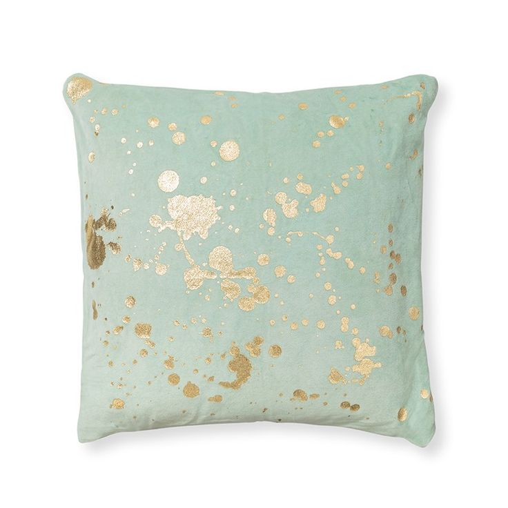 Dress (your sofa) to impress with this sumptuous sage green cushion with luxe gold foiling