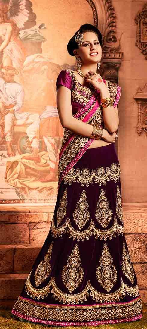 Dazzling Deep Voilet Velvet Bridal Lehenga Saree