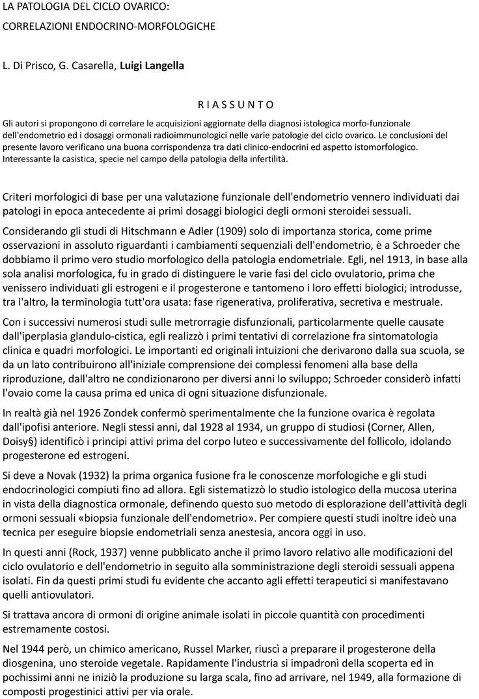 Ciclo ovarico - report del Dottor Luigi Langella