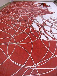 "Petr Kvíčala (b.1960), working on a ceiling mural ""Watermelon-Cut Ceiling Dance"", 2004"