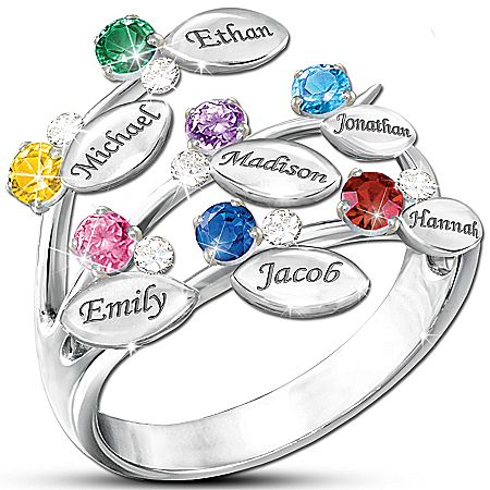 Personalized Jewelry - Personalized Leaf-Design Ring With Names And Birthstones
