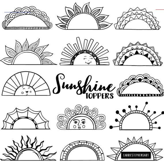 Printable Label Clipart Tabs Art Journal Graphic Border Frame Black Line Art Doodle Summer Sun Happy Face Co Doodle Ritningar Bullet Journal Ideer Ritider
