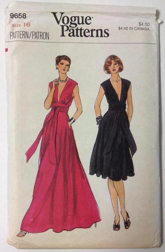 9658 RARE Vogue Pattern Misses Dress Deep V Neck Evening Length Flared Skirt 16
