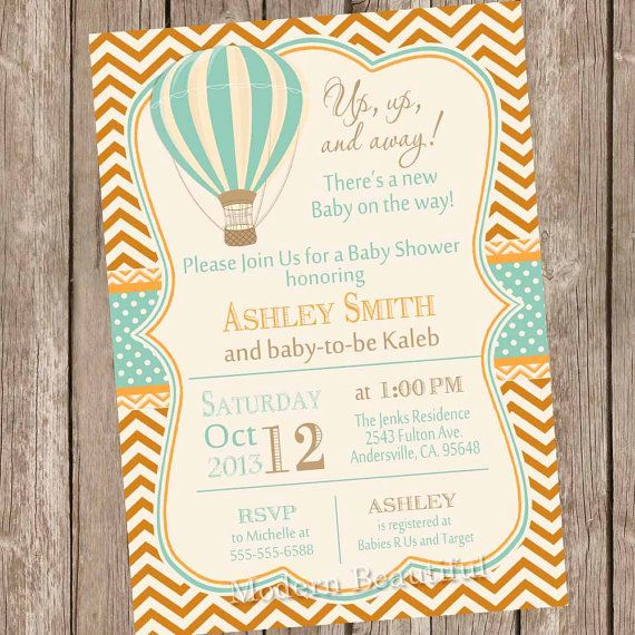 Vintage Hot Air Balloon Baby Shower Invitation, up up and away, chevron, baby shower invitation, vintage, burnt orange and blue, printable,