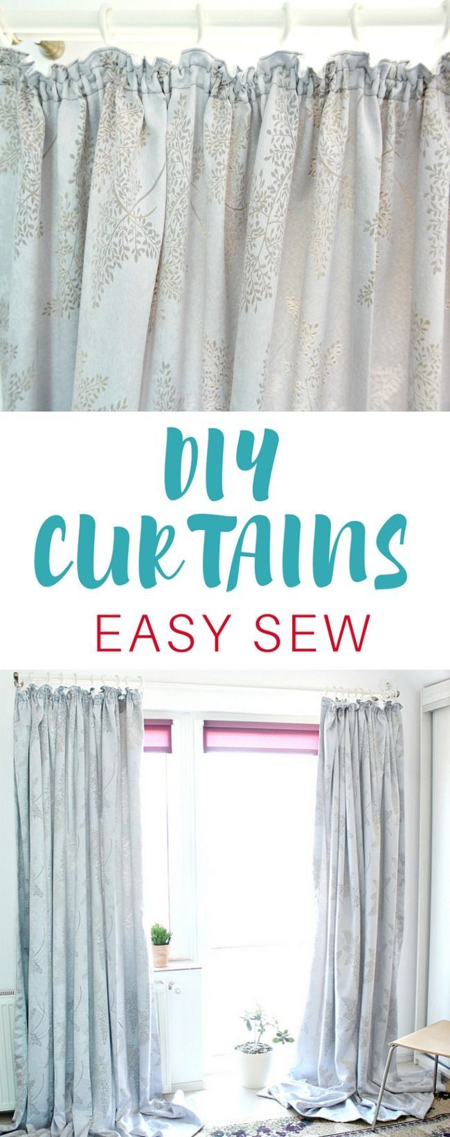 DIY CURTAINS EASY SEWING TUTORIAL - Having custom made curtains doesn't have to be expensive! Make your own with this easy peasy DIY curtains tutorial! Perfect beginner sewing project!