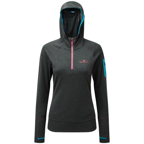 Ronhill Momentum Victory Half-Zip Running Hoodie (€41) ❤ liked on Polyvore featuring activewear, activewear tops, tail activewear, long sleeve activewear and long sleeve activewear tops