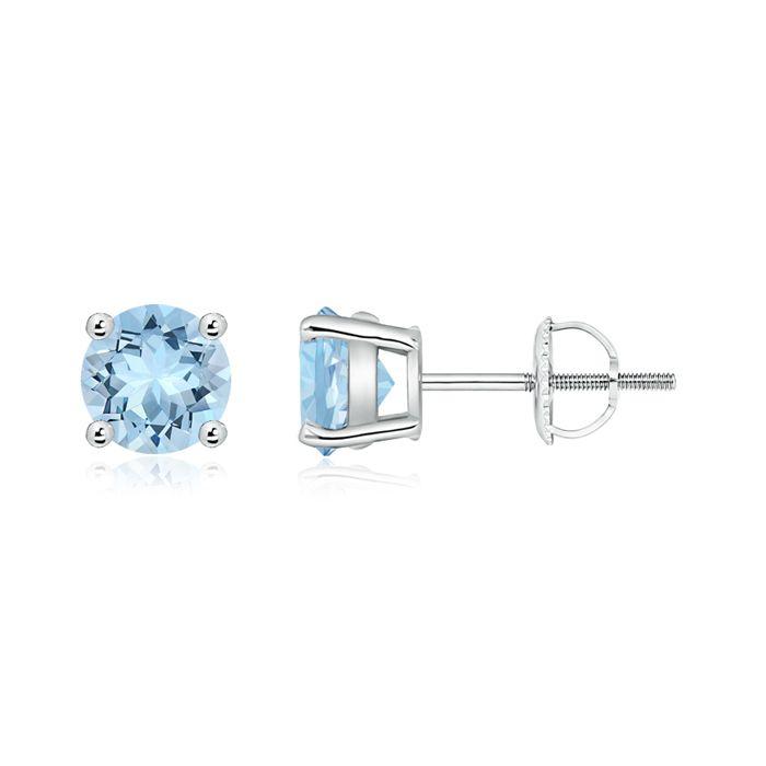 Angara Four Prong Set Square Aquamarine Basket Stud Earrings in Platinum Wl7OXs2d7