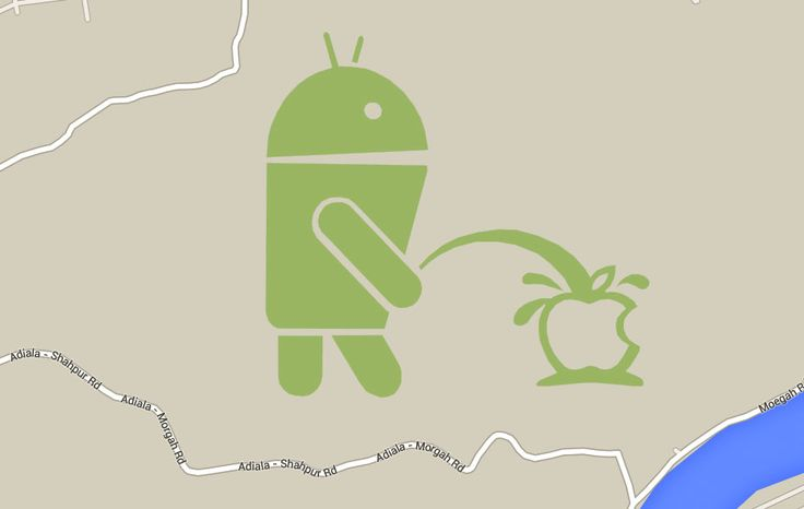Easter Egg of the Day: An Android is Peeing on the Apple Logo in Pakistan on Google Maps