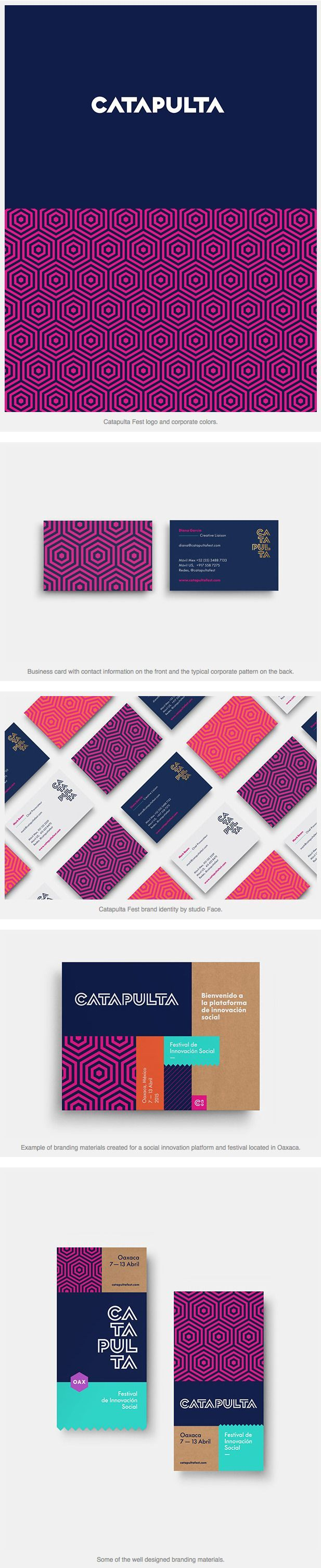 Colorful business cards. Catapulta Fest Identity by Studio Face