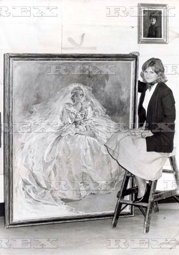 Painted by artist, Susan Ryder, this rarely seen portrait of Diana in her wedding gown was commissioned by Prince Charles after their 1981 nuptials. It is said that it was his favorite picture of Diana in her wedding dress and he had an oil painting done of it that is still in his private collection. The artist poses with the 60 x 48 inch portrait.