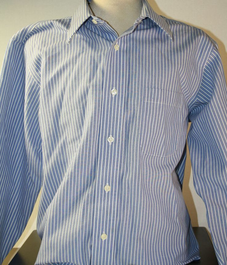 Brooks Brothers Button Front Mens Dress Shirt Long Sleeve 16 Non Iron Striped