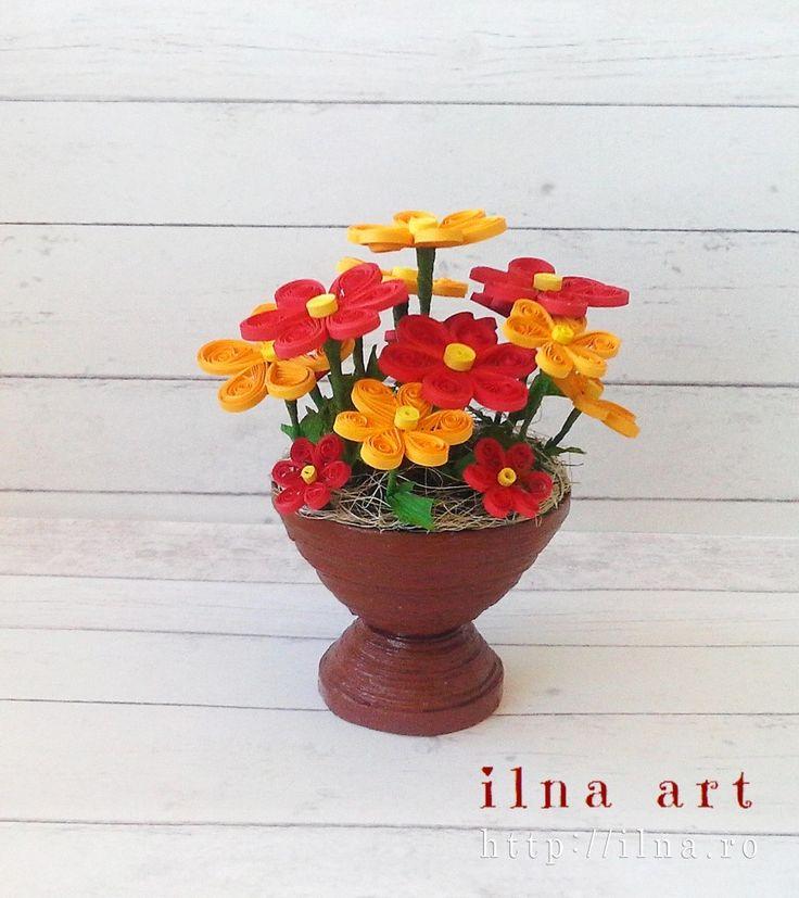 цветы квиллинг в горшочках пошаговое фото делала