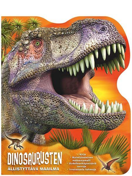 Dinosaurusten ällistyttävä maailma -kirjasta  opit lisää dinosauruksista. Pakkaus sisältää kiinnostavan 39-sivuisen dinotietokirjan, irrotettavia dinoja ja uudelleenkäytettäviä tarroja.