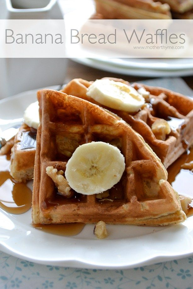 Start your morning with and easy recipe for Banana Bread Waffles topped with warm maple syrup or a dollop of whipped cream.