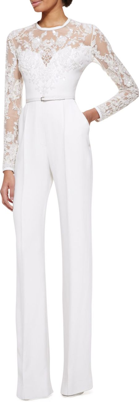 Long-Sleeve lace embellished jumpsuit by Elie Saab - a lovely alternative to the wedding dress! ♡#Sabelline