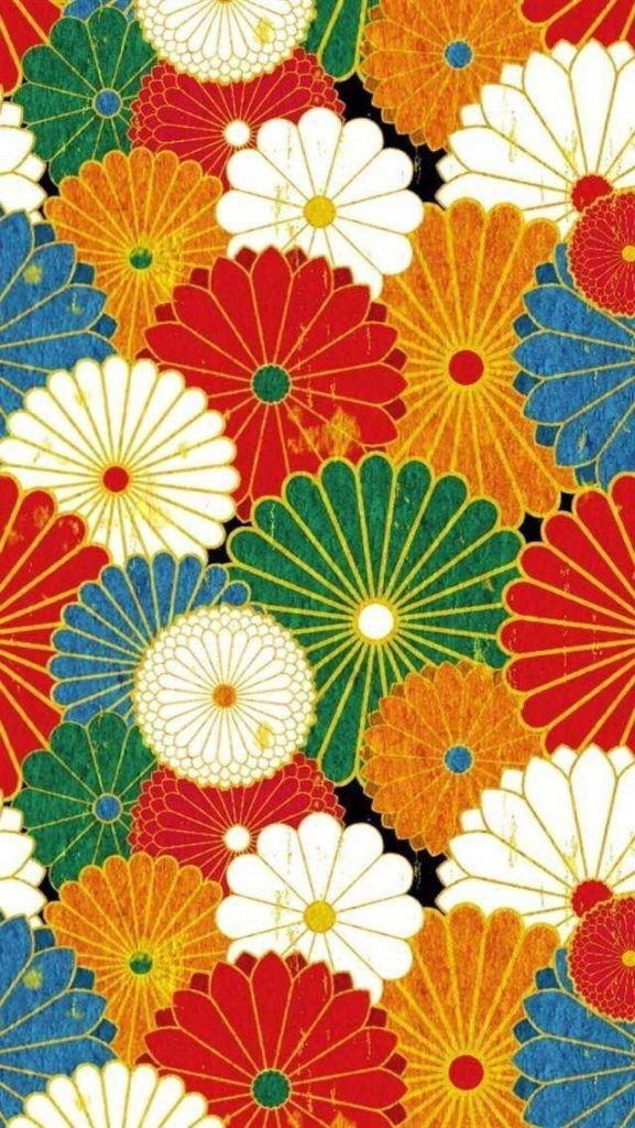 和風の花柄iPhone壁紙 iPhone 5/5S 6/6S PLUS SE Wallpaper Background